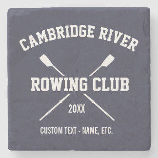 Personalized Crew Rowing Logo Oars Team Name Year Stone Coaster