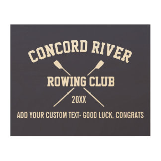 Personalized Crew Rowing Logo Oars Team Name Year Wood Wall Art