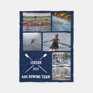 Personalized Crew Rowing Photo Collage Team Name Fleece Blanket
