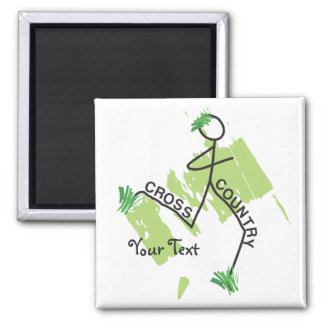 Personalized Cross Country Grass Runner 2 Inch Square Magnet
