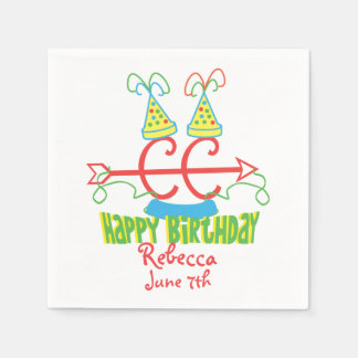 Personalized Cross Country Running Birthday Party Standard Cocktail Napkin