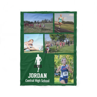 Personalized Cross Country Running Photo Collage Fleece Blanket