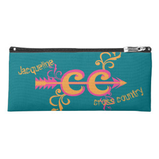 Personalized Cross Country Swirls Pink Orange Pencil Case