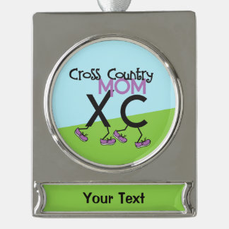 Personalized Cross Country XC Mom Silver Plated Banner Ornament