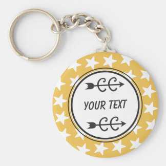 Personalized Cross Country Yellow Gold Keychain