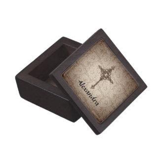 Personalized Cross, Soft Brown/Cream Damask Design Jewelry Box