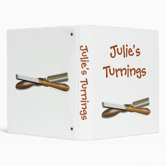Personalized Crossed Woodturning Tools Template 3 Ring Binder