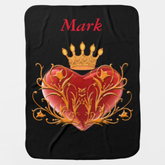 Personalized Crown Filigree Heart Baby Blanket