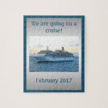 "Personalized Cruise Surprise Jigsaw Puzzle<br><div class=""desc"">Surprise! A fun and unique way to break the news or a big surprise to family and loved ones that &quot;we are going on a cruise&quot; Personalize with the date.</div>"