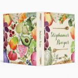 Personalized Culinary Fruits and Veggies Recipe 3 Ring Binder