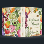 """Personalized Culinary Fruits and Veggies Recipe 3 Ring Binder<br><div class=""""desc"""">Watercolor images of various food elements. Many fruits, vegetables and herbs are depicted as well as bread and cheese: peach, grapes, cauliflower, bread, apple, broccoli, cucumber, swiss cheese, watermelon, tomato, mango, avocado, cilantro, thyme, parsley. Personalize this binder with a person&#39;s name. These make great gifts for the gourmet chef in...</div>"""