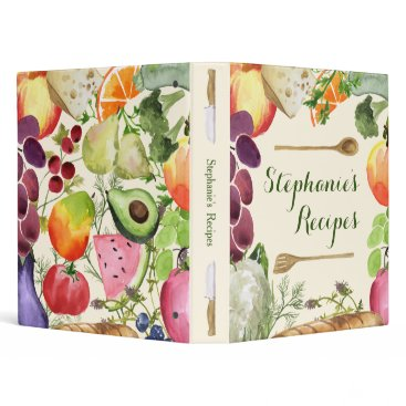 cbendel Personalized Culinary Fruits and Veggies Recipe 3 Ring Binder
