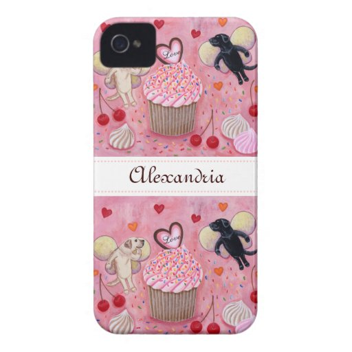 Personalized Cupcake and Labrador Fairies iPhone 4 Case-Mate Cases