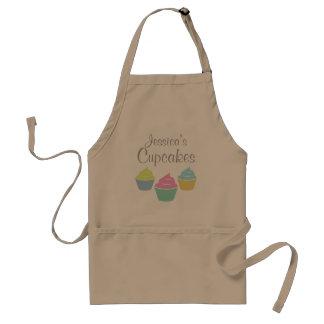 Personalized cupcake apron for women | Dark Beige