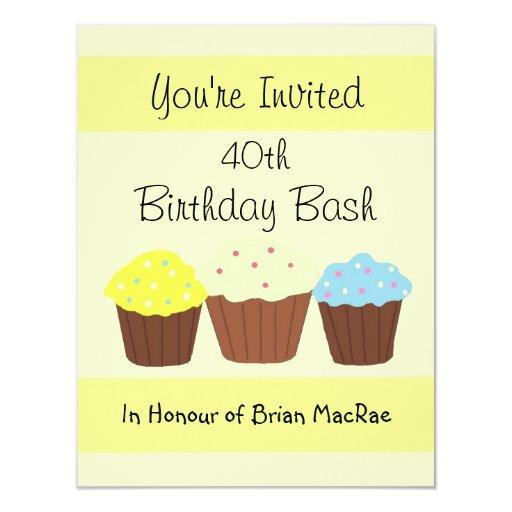 Personalized Cupcake Birthday Invitation