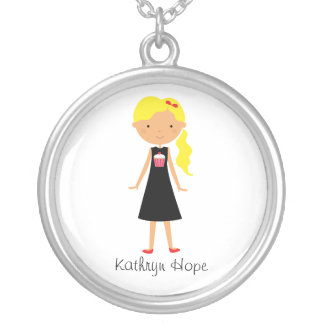 Personalized Cupcake Cutie with Blonde Curly Hair Silver Plated Necklace