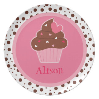 Personalized Cupcake Dinner Plate