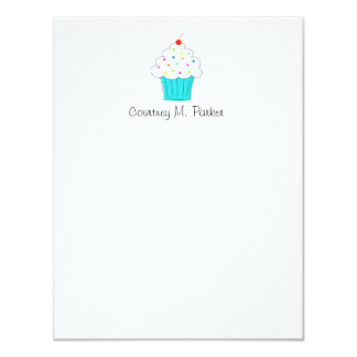 """Personalized Cupcake Notecards 4.25"""" X 5.5"""" Invitation Card"""