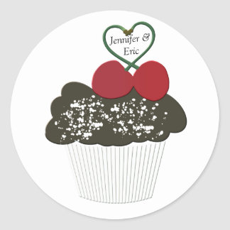 Personalized Cupcake with Heart Love Stickers