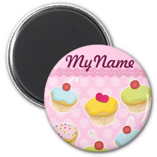 Personalized Cupcakes 2 Inch Round Magnet