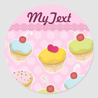 Personalized Cupcakes Classic Round Sticker