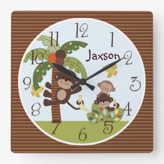 """Personalized """"Curly Tails Monkey/Palm Tree"""" Clock"""