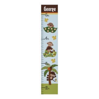 Personalized Curly Tails Monkeys Growth Chart Poster