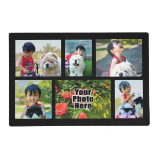 Personalized Custom 6 Photo Collage Montage Placemat