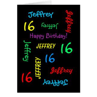 Personalized Custom Black 16th Birthday Card