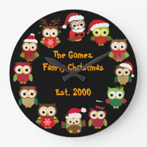 Personalized Custom Christmas Owl Clock