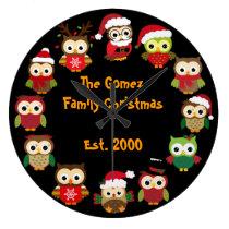 Personalized Custom Christmas Owl Clock