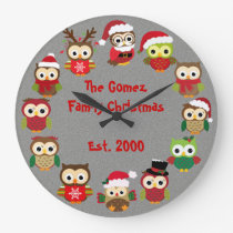 Personalized Custom Christmas Silver Owl Clock