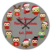 Personalized Custom Christmas Silver Owl Clock