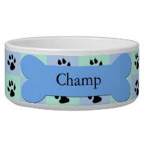 Personalized Custom Dog Bowl -- Blue Dog Bone