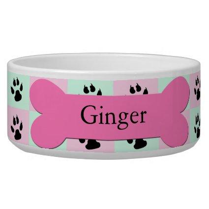 Personalized Custom Dog Bowl -- Pink Dog Bone