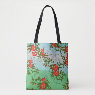 Personalized Custom Floral Pattern Tote Bag