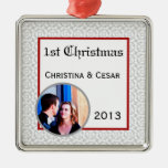 Personalized Custom Gray Red Formal Print Christmas Ornaments