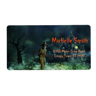 Personalized Custom Halloween Skull man with House Label