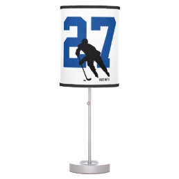 Personalized Custom Hockey Player Number Blue Desk Lamp