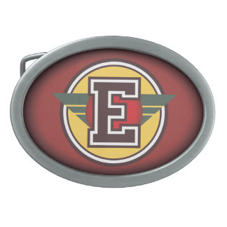 Personalized Custom Initial E Oval Belt Buckle