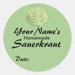 Personalized Custom Jar Labels Sauerkraut Cabbage Classic Round Sticker
