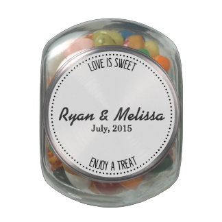 Personalized Custom Jelly Bean Wedding Favor Gift Glass Candy Jar
