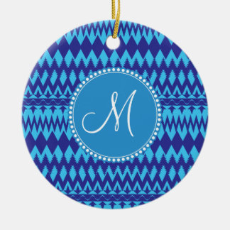 Personalized Custom Monogram Blue Tribal Pattern Ceramic Ornament