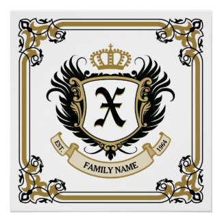 Personalized Custom Monogram Family Crest Poster