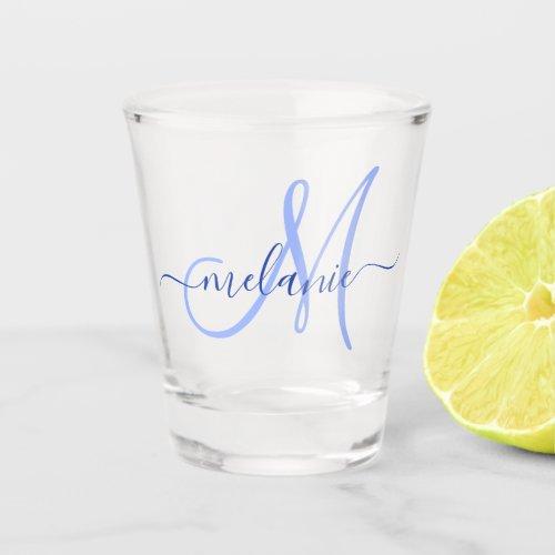 Personalized Custom Monogram Name Handwriting Blue Shot Glass