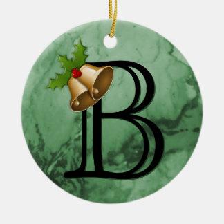 Personalized Custom Monograms Initial Green Xmas Christmas Ornament