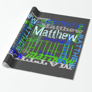 Personalized Custom Name Collage Blue Birthday Gift Wrapping Paper