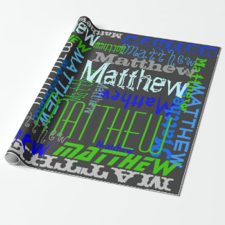 Personalized Custom Name Collage Blue Birthday Gift Wrap Paper