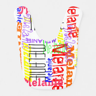 Personalized Custom Name Collage Colorful Baby Bib