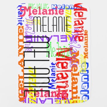 Personalized Custom Name Collage Colorful Baby Blanket